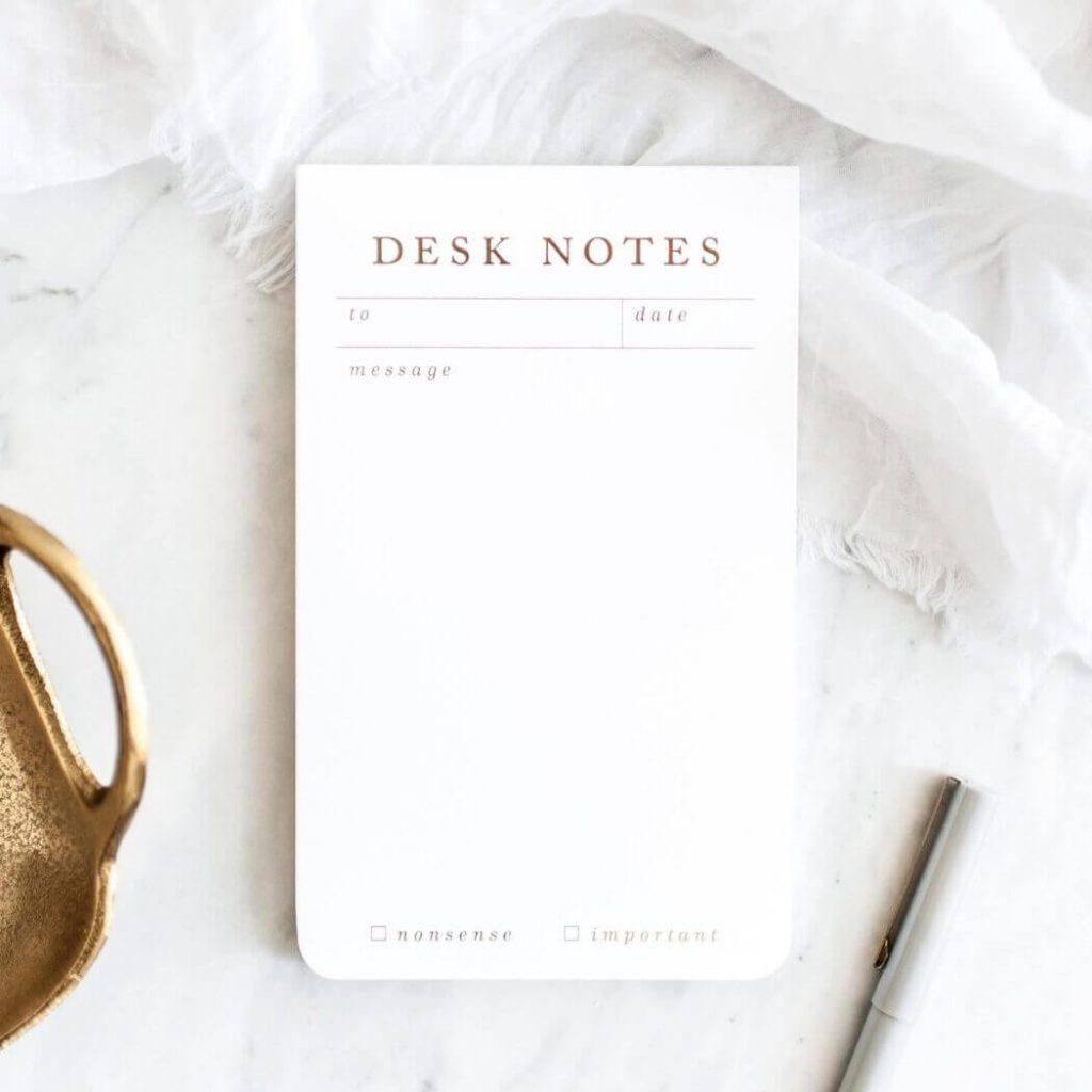 Desk Notes - Contact Sabiina Design Atelier