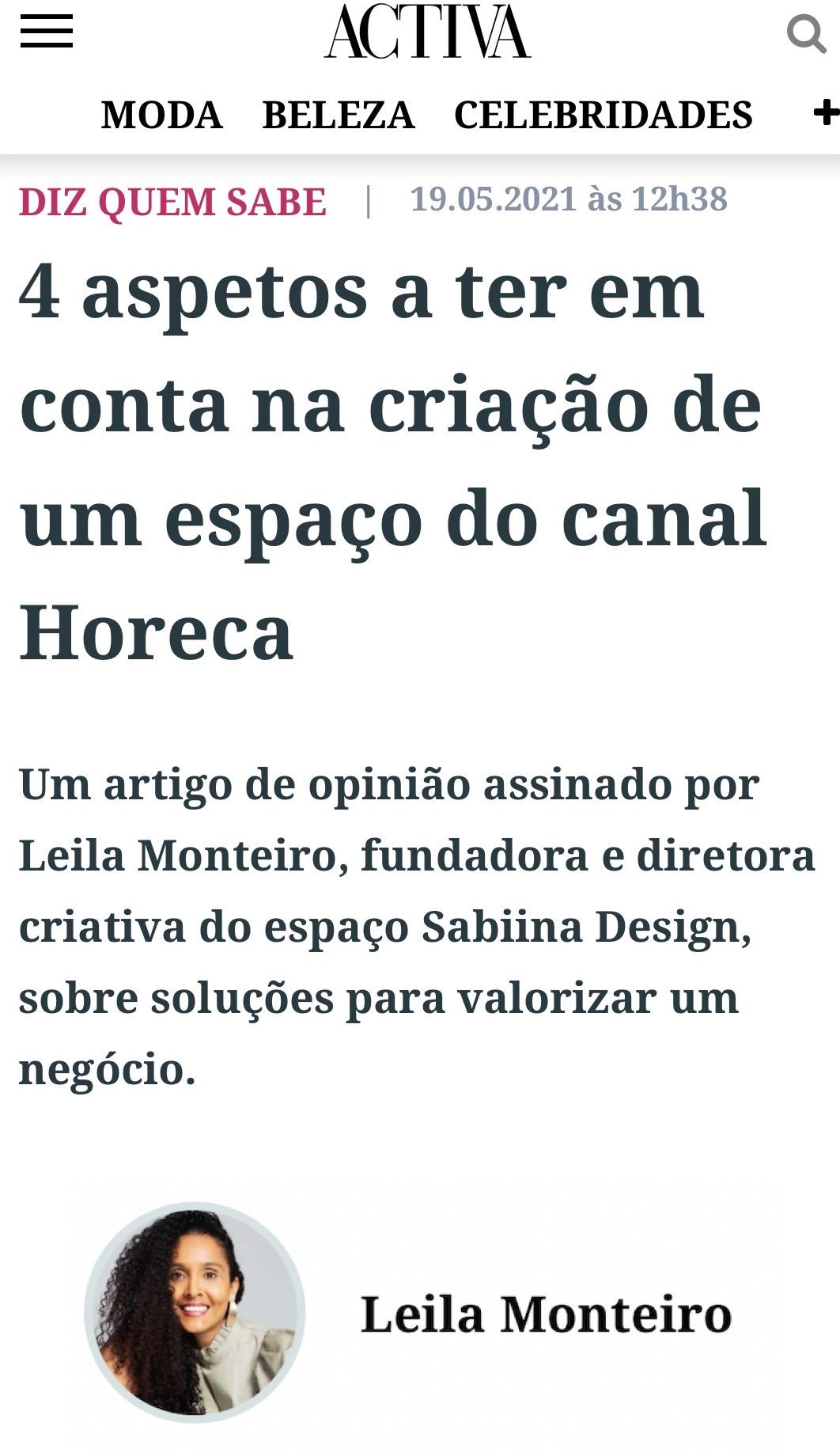 Design de Interiores | Atelier Sabiina Design | Artigo Press| Activa 05-2021